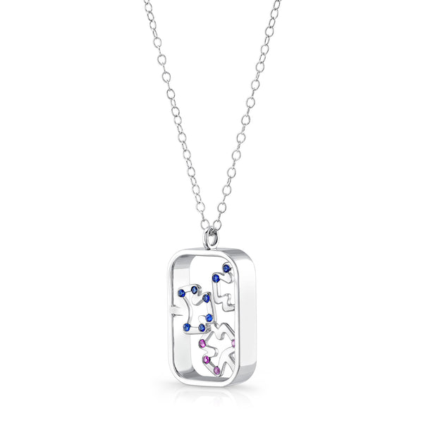 Autumn Pendant (Sterling silver with Sapphires) - Dafina Jewelry