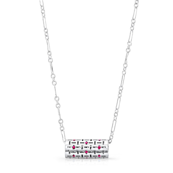 Allure Code Pendant (Sterling silver with Pink Sapphires) - Dafina Jewelry