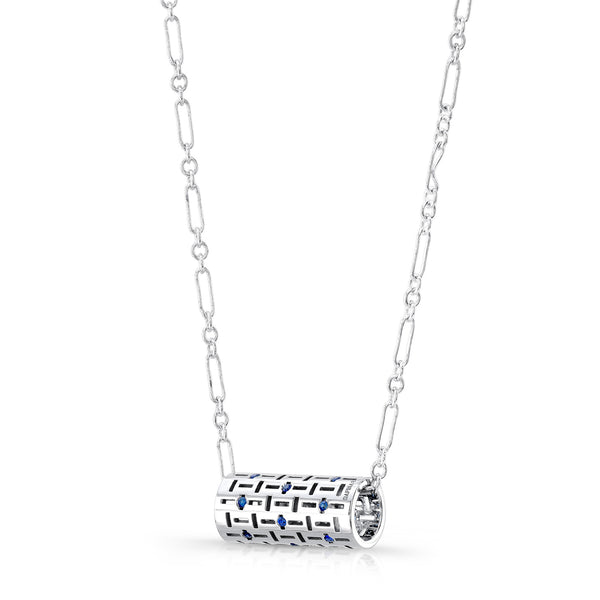 Allure Code Pendant (Sterling silver with Blue Sapphires) - Dafina Jewelry