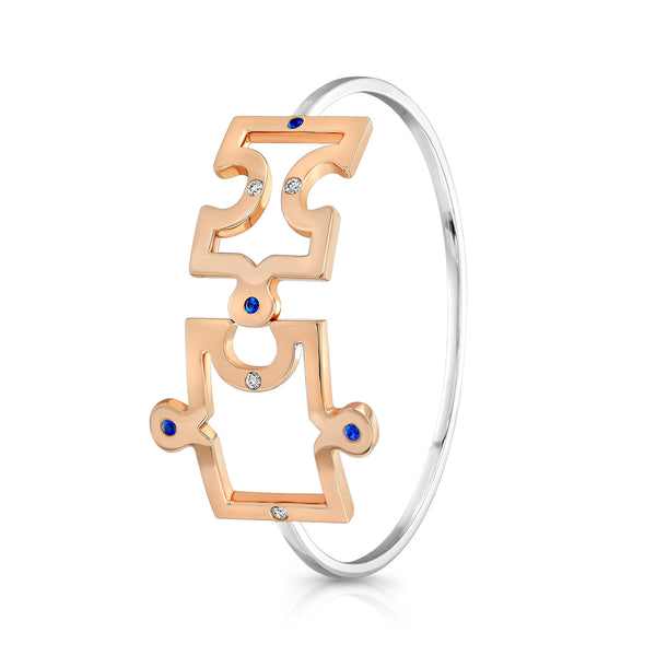 Puzzle Bangle (14K Gold with Diamonds and Blue Sapphires) - Dafina Jewelry - 2
