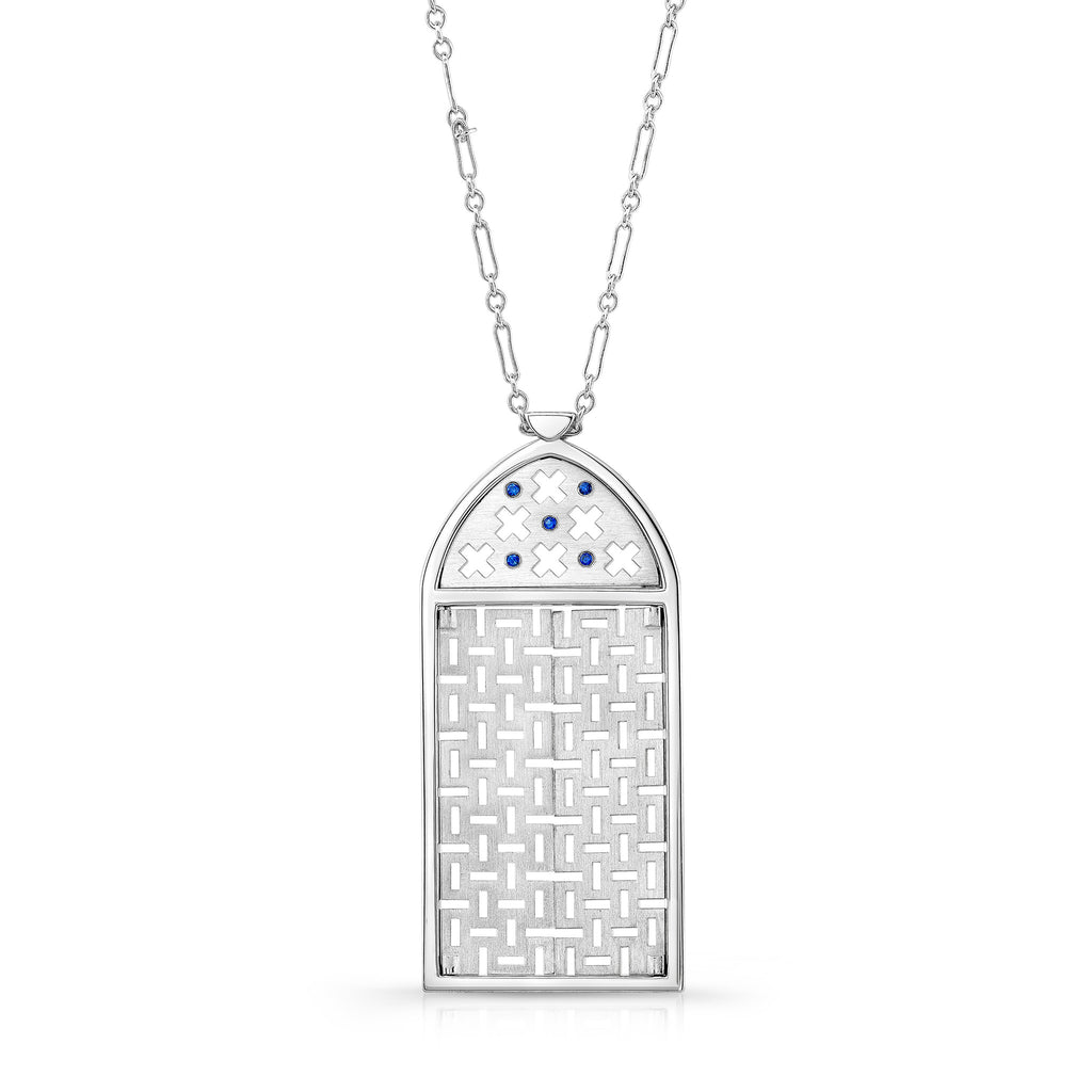Morocco Pendant (Sterling silver with Blue Sapphires) - Dafina Jewelry - 1