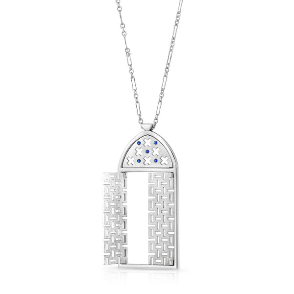 Morocco Pendant (Sterling silver with Blue Sapphires) - Dafina Jewelry - 2