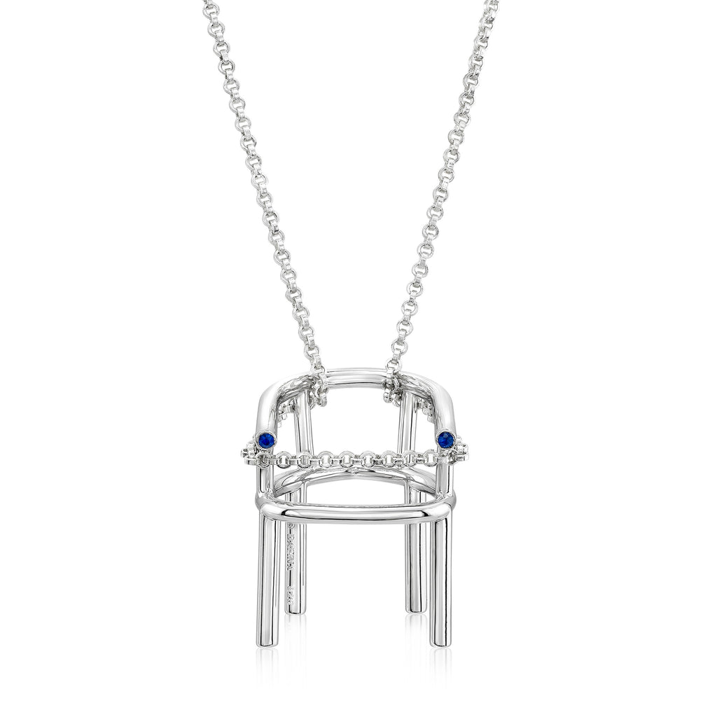 Frenchair Pendant (Sterling silver with Blue Sapphires) - Dafina Jewelry - 1