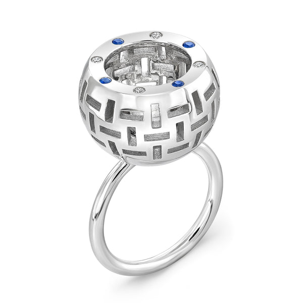 Allure Ring (14K Gold with Diamonds and Sapphires) - Dafina Jewelry