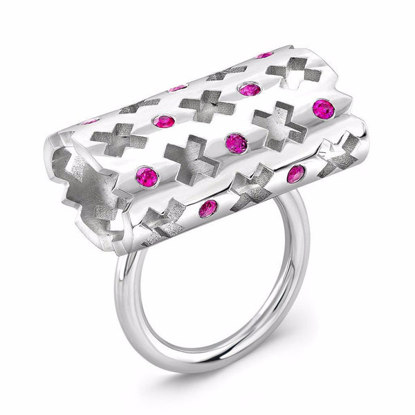 Majesty Ring (14K Gold with Pink Sapphires) - Dafina Jewelry - 1