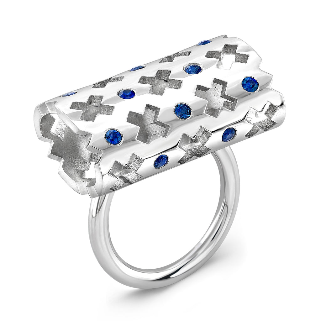 Majesty Ring (14K Gold with Blue Sapphires) - Dafina Jewelry - 1