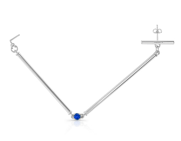 Ear Nose Link (Sterling silver with Blue Sapphire) - Dafina Jewelry - 1