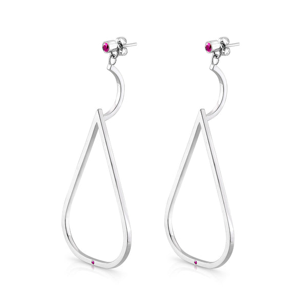 Dawn Earrings (Sterling silver with Pink Sapphires) - Dafina Jewelry - 1