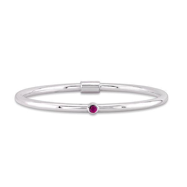 Loop Bangle (Sterling silver with Pink Sapphire) - Dafina Jewelry - 1