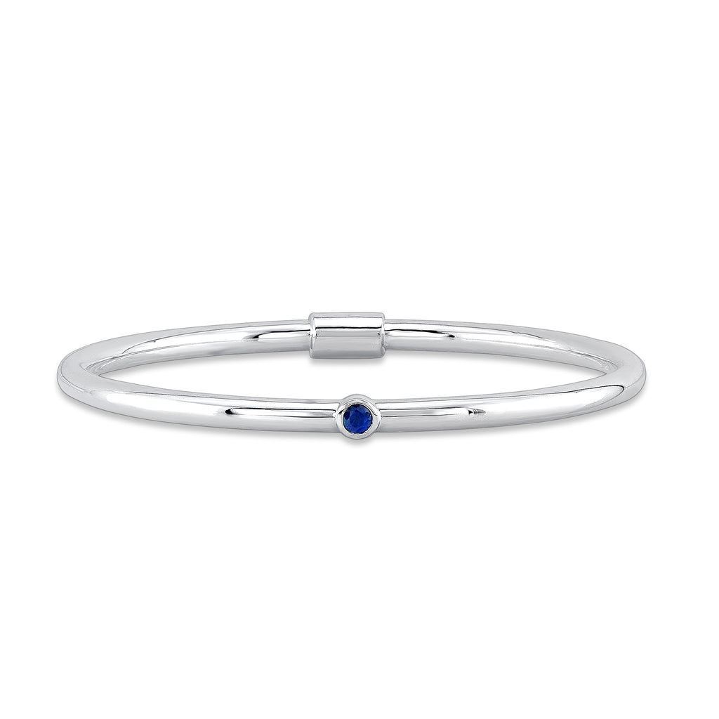 Loop Bangle (Sterling silver with Blue Sapphire) - Dafina Jewelry - 1