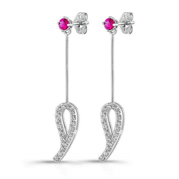 Leaf Drop Earrings (14K Gold with Diamonds and Pink Sapphires) - Dafina Jewelry - 1