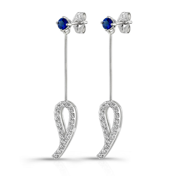 Leaf Drop Earrings (14K Gold with Diamonds and Blue Sapphires) - Dafina Jewelry - 1