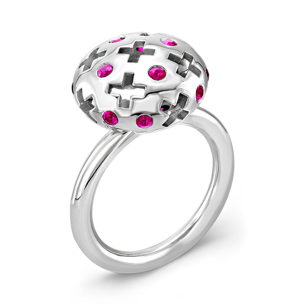 Majesty Candy Ring (14K Gold with Pink Sapphires) - Dafina Jewelry - 1