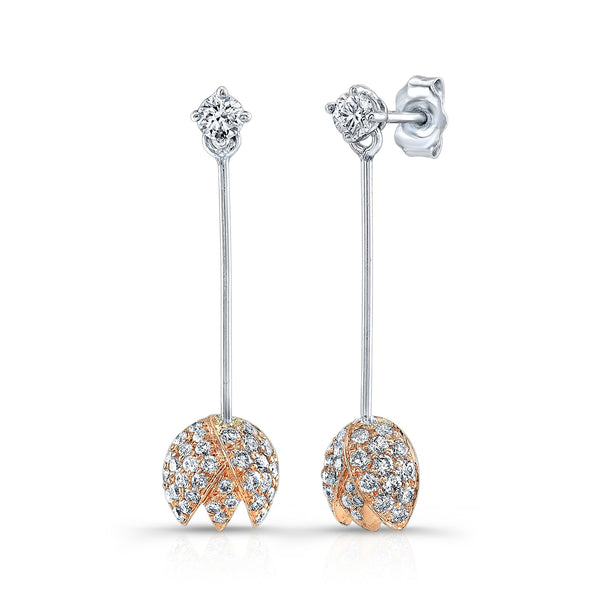 Dafina Rose Earrings (14K Gold with Diamonds) - Dafina Jewelry - 1