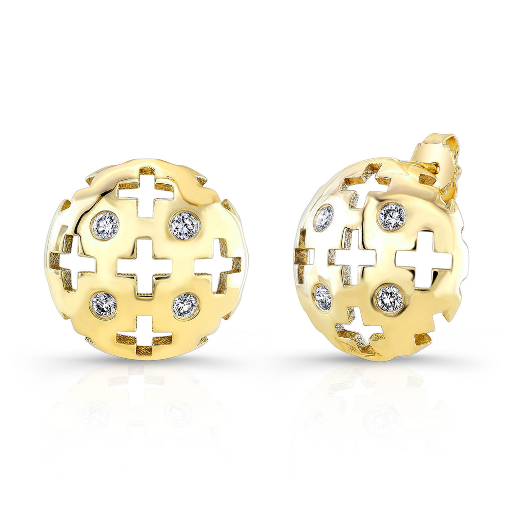 Majesty Studs (14K Gold with Diamonds) - Dafina Jewelry - 1