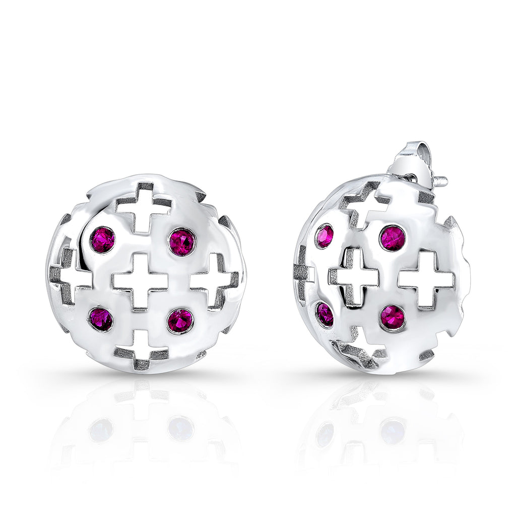 Majesty Studs (14K Gold with Pink Sapphires) - Dafina Jewelry - 1