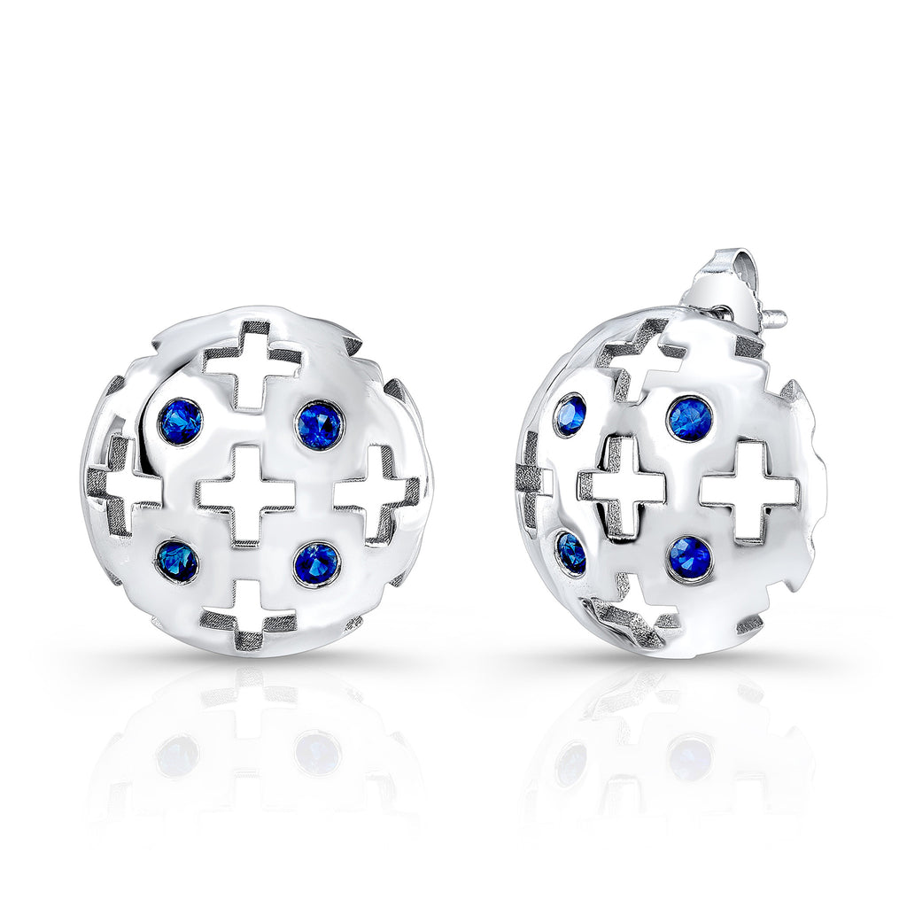 Majesty Studs (14K Gold with Blue Sapphires) - Dafina Jewelry - 1