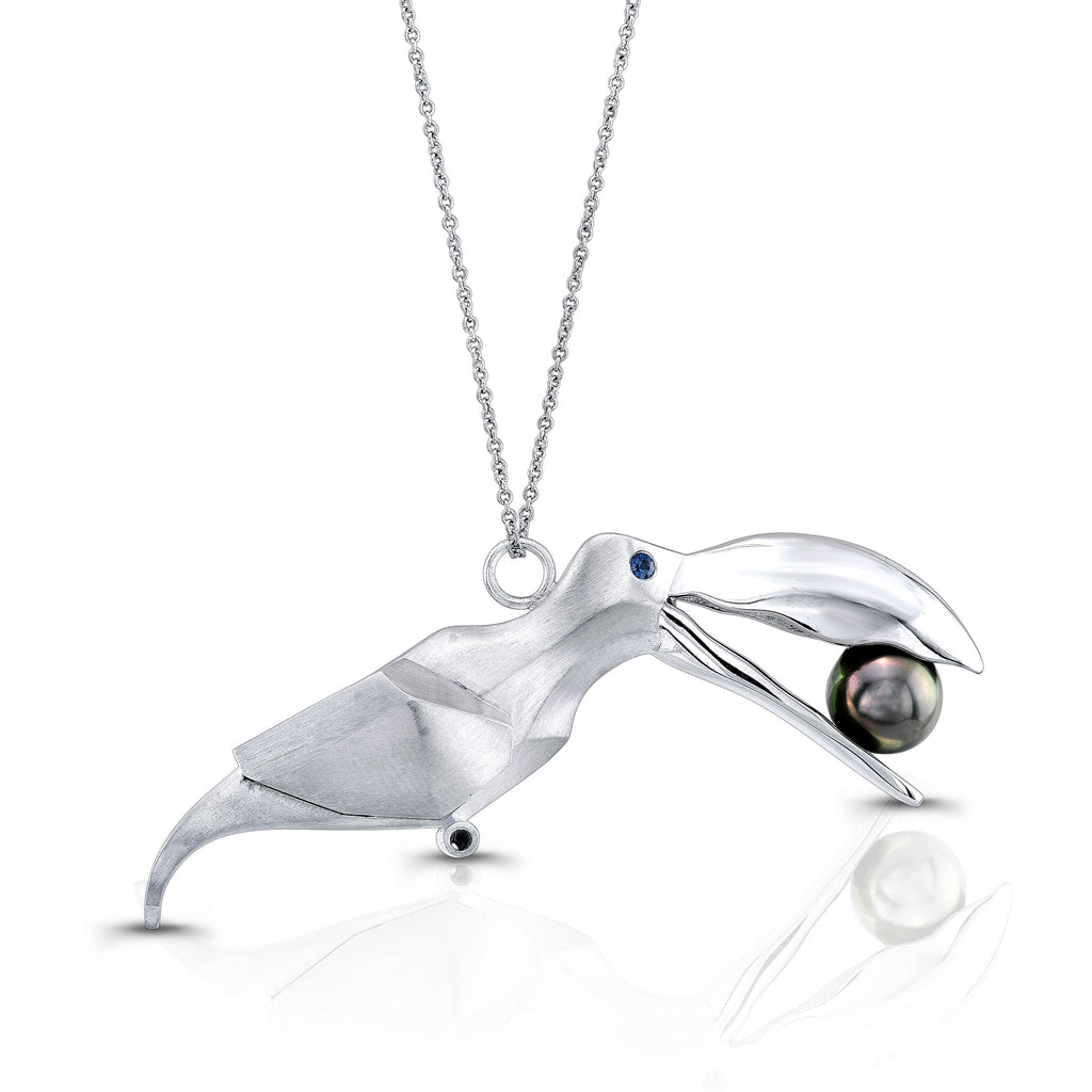 Toucan Pendant (Sterling silver with Sapphires and Pearl) - Dafina Jewelry - 1
