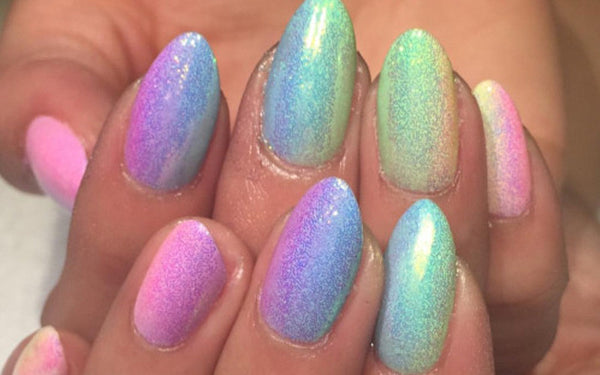 chrome holographic acrylic nails
