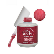 IBD Just Gel Soak Off Gel Red Shimmer Nail Polish - BRANDY WINE