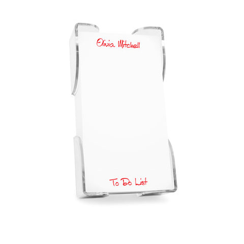Acrylic Notepad Holder- Personalized Name - White Pad