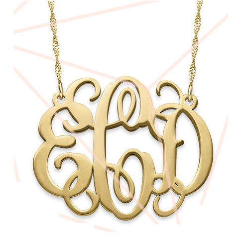 Solid 14k Gold Monogram Necklace