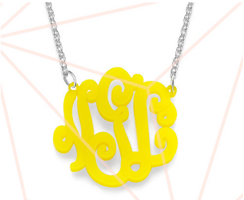 "Acrylic Vine Circle Monogram Necklace 1.38"" by 1.38"""