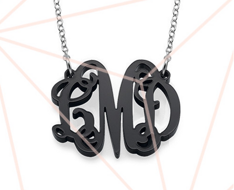 "Traditional Vine 3 Initial Monogram Necklace 0.96"" by 1.17"""