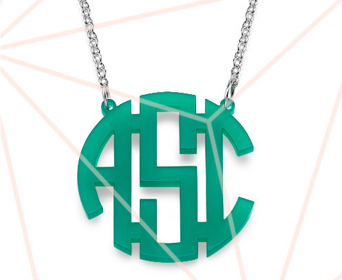 "Circle Block Acrylic Monogram Necklace 1.38"" by 1.38"""