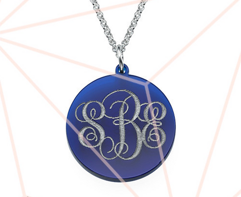 Acrylic Monogram Disc Necklace