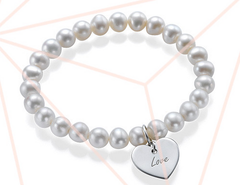 Children's Pearl Bracelet with Charm