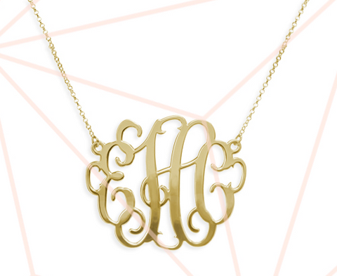 Gold and Silver Vine Monogram Necklaces