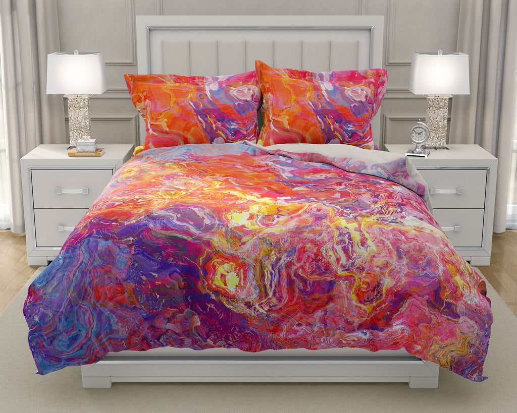 Duvet Cover with abstract art, king or queen in Orange, Hot Pink, Blue