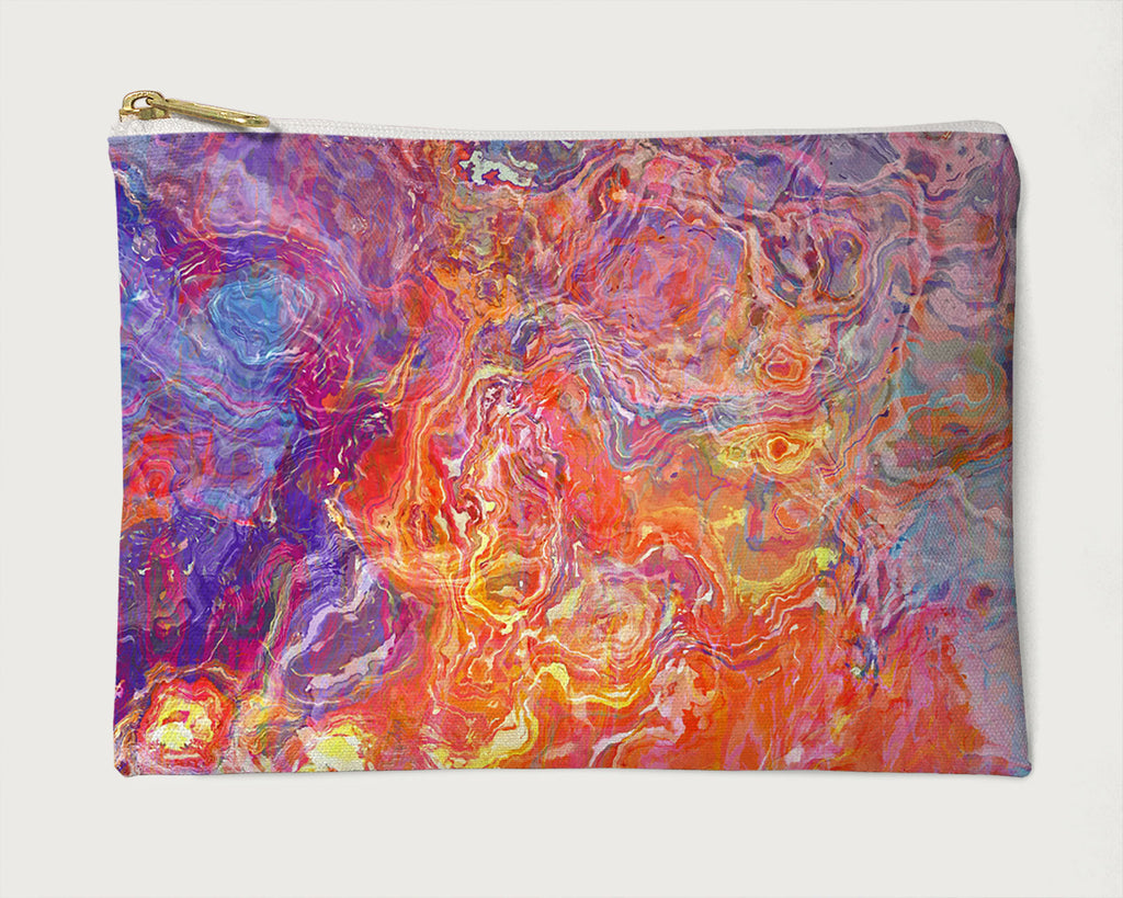 Makeup Bag, Pencil Case, Cosmetic Bag Abstract Art, Orange, Pink, Purple, Yellow, Blue, White