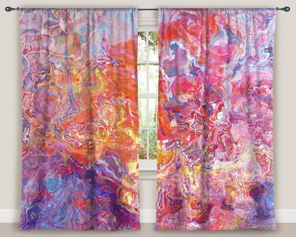 "Abstract art window curtains 50""x84"" panels in Orange, Hot Pink, Purple"