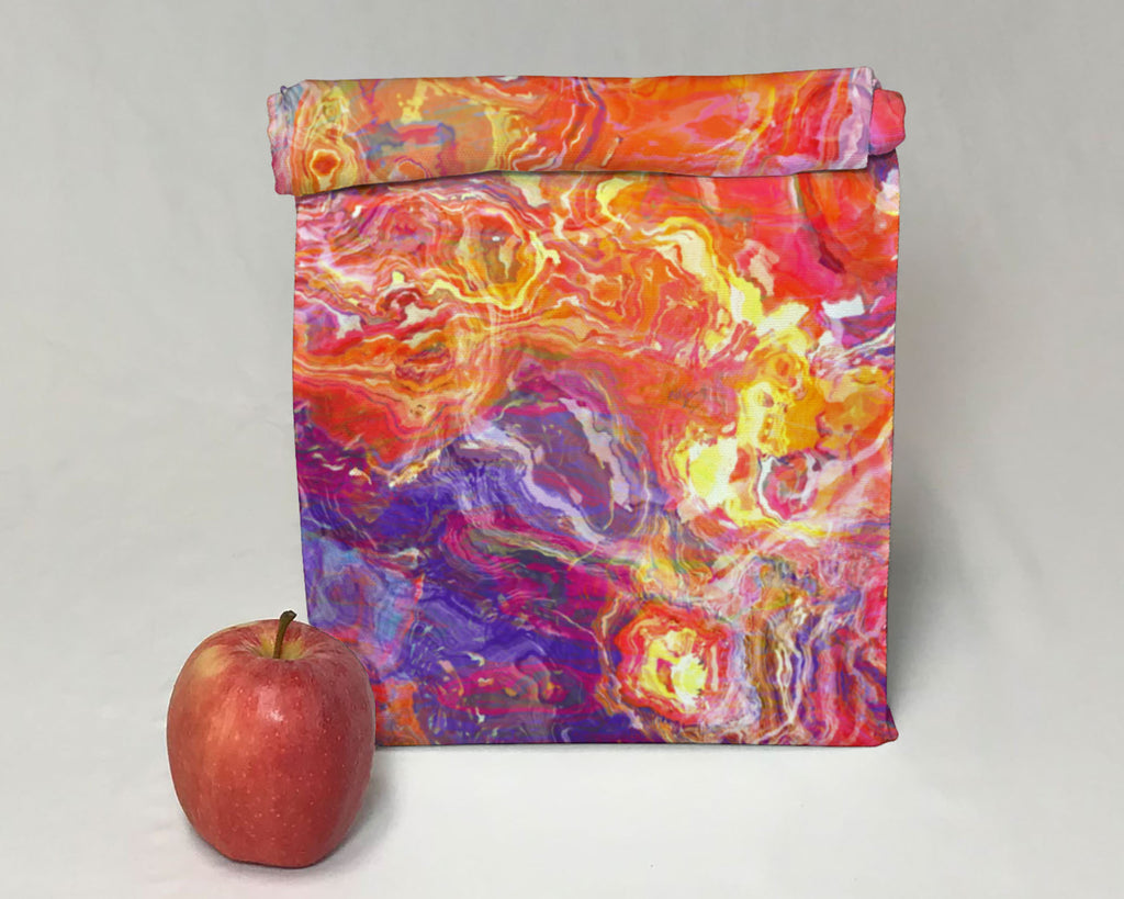 Abstract Art Insulated Lunch Bag, Magnetic Closure, Contemporary Style