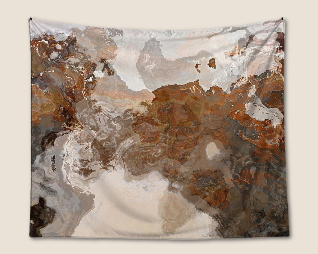 Abstract Art Tapestry, wall hanging in coffee, brown and gray