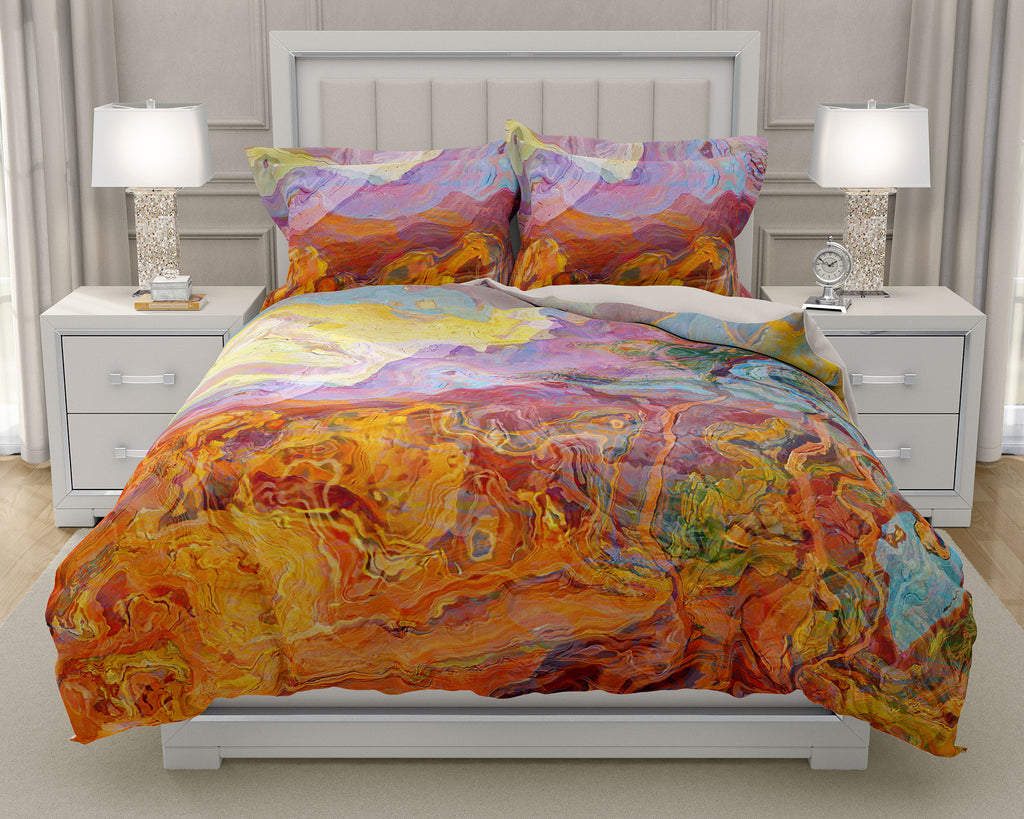 Duvet Cover with abstract art, king or queen in Orange, Yellow, Blue