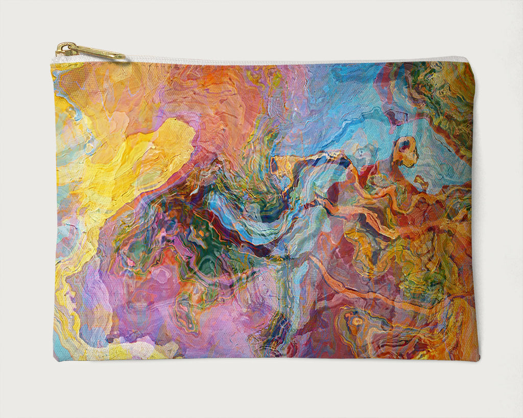 Makeup Bag, Pencil Case, Cosmetic Bag Abstract Art, Orange, Yellow, Blue, Lavender