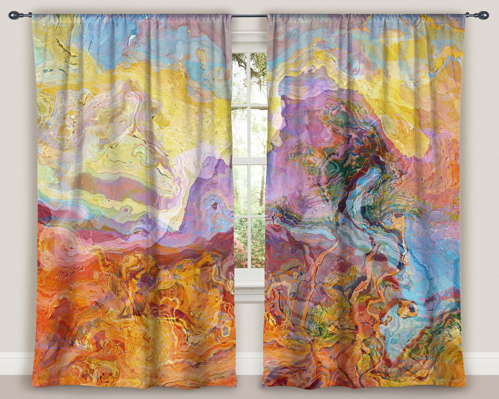 "Abstract art window curtains 50""x84"" panels in Orange, Yellow, Blue, Lavender"