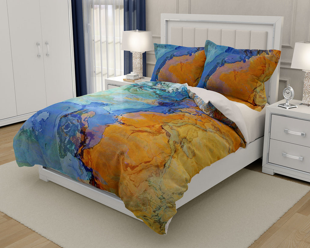 Duvet Cover with abstract art, king or queen in aqua, yellow and tan,