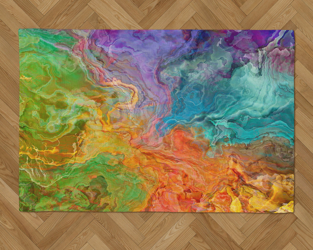 Area Rug with Abstract Art, 2x3 to 5x7, in rainbow colors