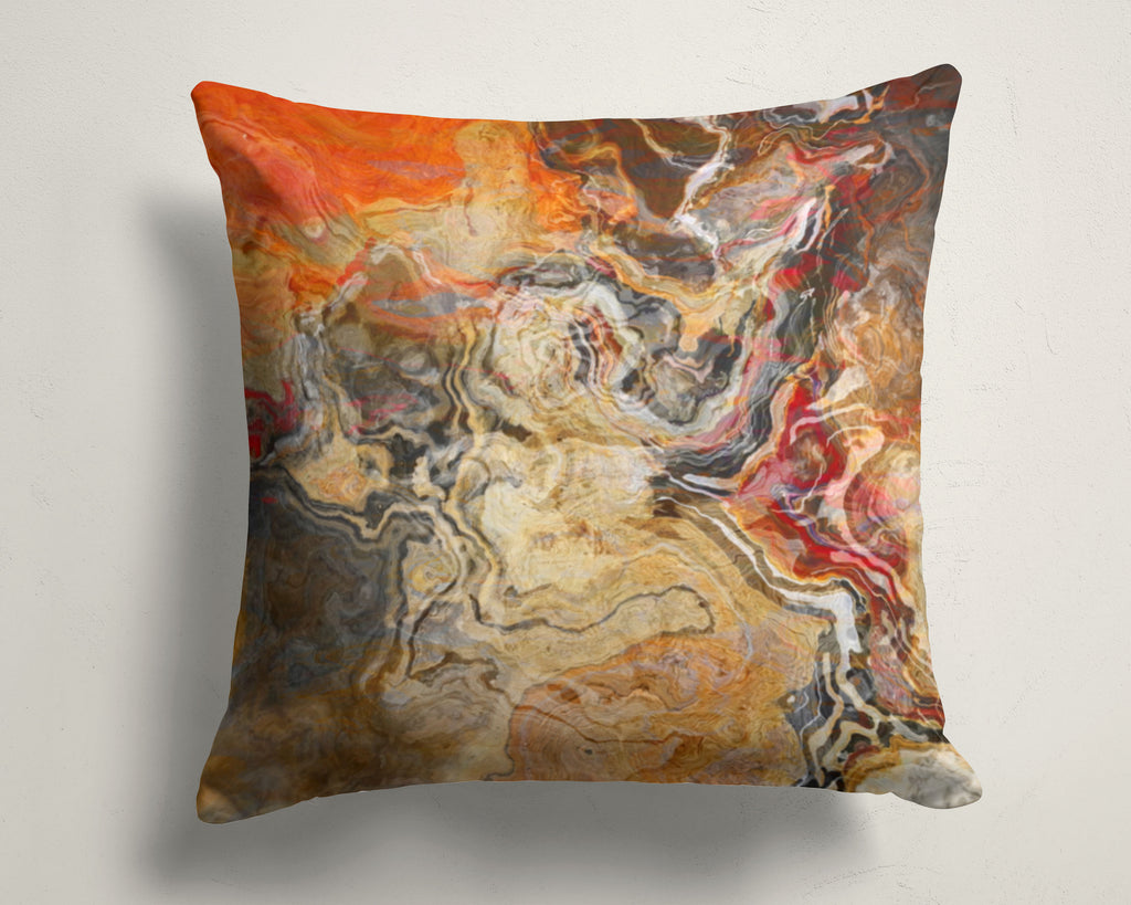Abstract art pillow covers, 16x16 and 18x18 inches, Red, Tan, Brown