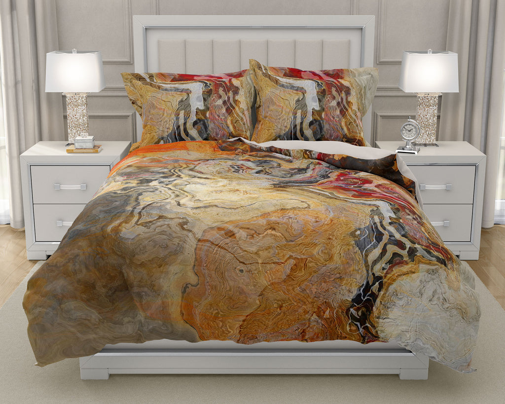 Duvet Cover with abstract art, king or queen in Red, Orange, Tan, Brown