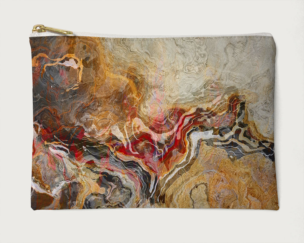 Makeup Bag, Pencil Case, Cosmetic Bag Abstract Art, Red, Orange, Brown