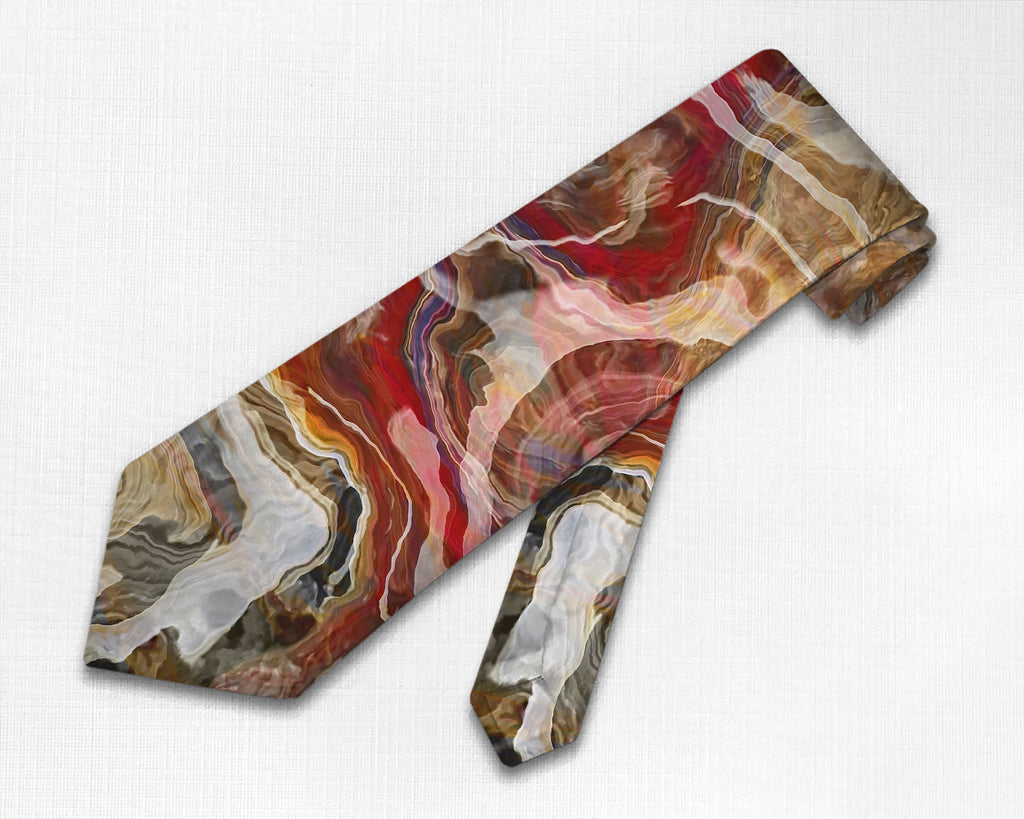 Abstract art men's tie in Red, Tan, Brown