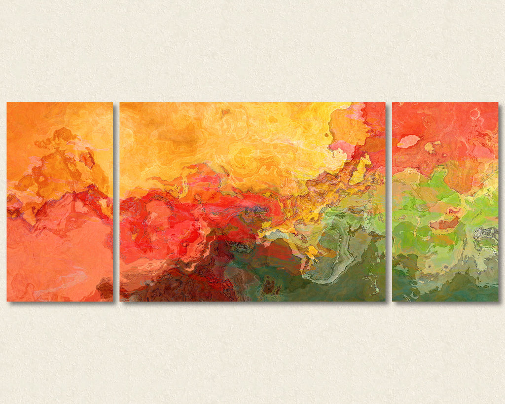 Abstract art triptych canvas print in red, yellow, green