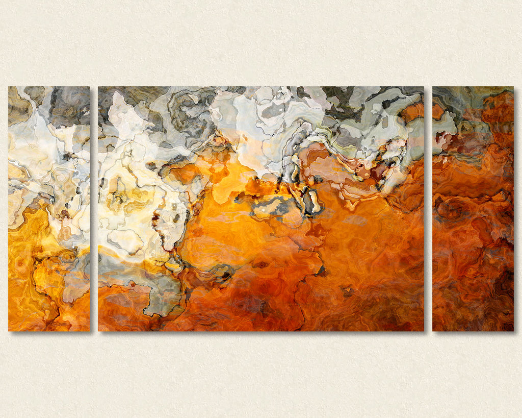 Abstract art triptych canvas print in orange, gray and white