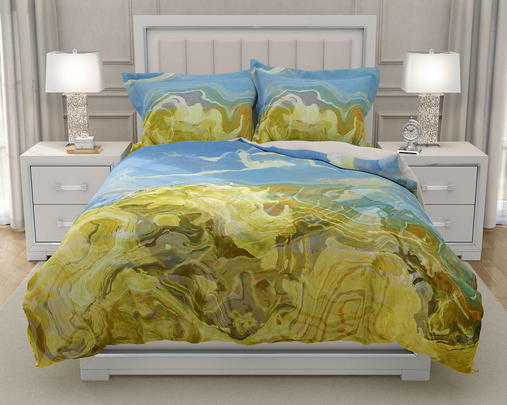 Duvet Cover with abstract art, king or queen in blue, beige and cream