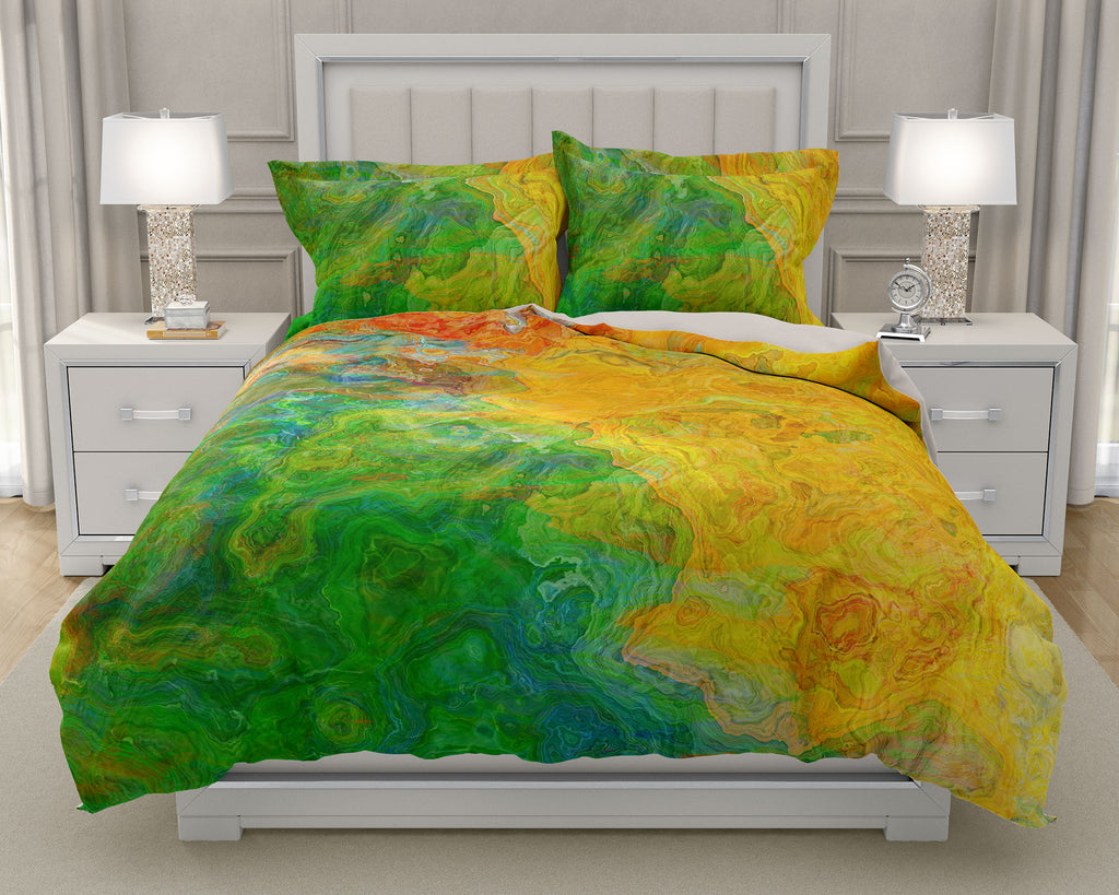 Duvet Cover with abstract art, king or queen in Yellow, Green, Red